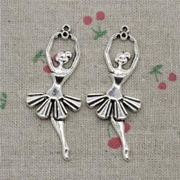 Dancer Bracelets Australia - 26pcs Charms ballet dancer ballerina 61*24mm Tibetan Silver Vintage Pendants For Jewelry Making DIY Bracelet Necklace