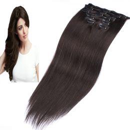 Clip Human Hair Extensions Remy 24 NZ - #2 Darkest Brown african american clip in human hair extensions 100g 7pcs Lot Straight Remy Clip in Human hair extension Full Head