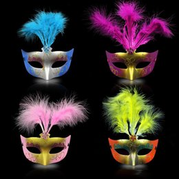 men half face masquerade color masks Canada - High quality New party masks masquerade masks halloween color ball feather mask fashion men women sexy half face masked mask