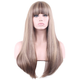 Ombre Wigs For Cheap UK - Cheap Synthetic Wigs Long Straight Hair Wig for Black Women Beige Ombre Brown Hair Synthetic Wig