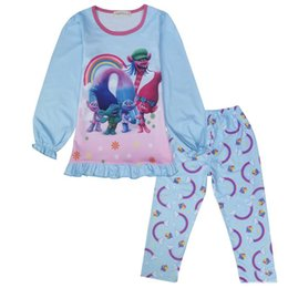 $enCountryForm.capitalKeyWord UK - Autumn Girls Trolls Pajamas Boutique Clothing Sets Puff Sleeve Ruffle Sleepwear Suits Children Underwear Top + Pants