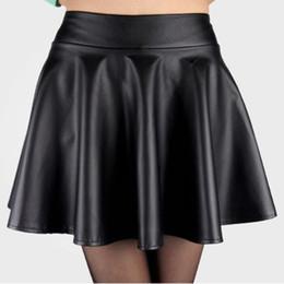 $enCountryForm.capitalKeyWord Canada - Hot Sales Women Ladies Faux Leather High Waist Skater Flared Pleated Short Mini Skirt