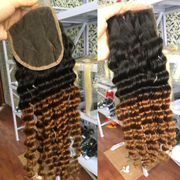 Cheap Peruvian Bleach Closure NZ - Ombre Peruvian Deep Wave Lace Closure T1b 30 Cheap Two Tone Virgin Remy Human Hair Lace Front Closure Piece Free Part Bleached Knots