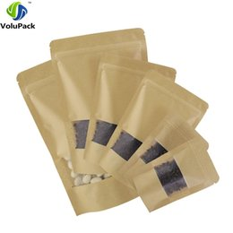 Thickness 16 Wire Brown Stand Up Kraft Paper Gift Bag For Tea Candy Nut Food Packaging Zip Lock Bags Storage