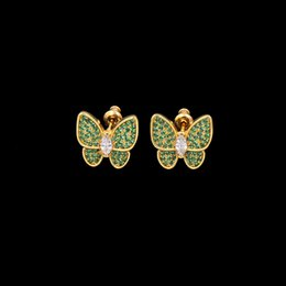 smart earrings 2019 - The export of wholesale jewelry inlaid copper micro fine three-dimensional green pastel butterfly wings smart drill Earr