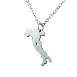 italian silver chains wholesale UK - 30PCS- European Country Map Italy Necklace Charm Italian Italia Pride I Heart Love Capital of Italy Rome City Necklaces for Souvenir