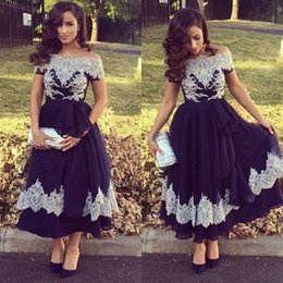 Celebrity Occasions Dresses Canada - New Celebrity Short Cocktail Party Dresses Off Shoulder Short Sleeve Tea Length Prom Dress Lace Appliques Special Occasion Evening Wear