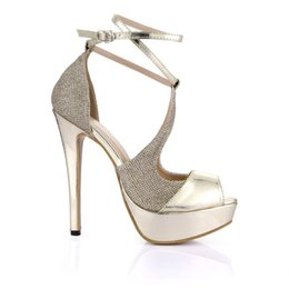 peep toe heels bridal gold UK - 2017 Real Women Sandals Shoes Real Image Gold Bridal Wedding Shoes Buckle Strap Peep Toe High Thin Heels Plus Size Shoes Summer Style