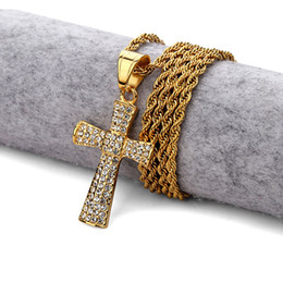 China New Men Hip Hop Gold Plated Cross Pendant Full Iced Out Rhinestone Vintage Crystal Crucifix Necklace suppliers