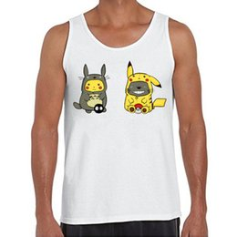 Barato Solteiros Legais-Wholesale- 2016 Hot Sales Fashion Totoro Pikachu Onesie Design Men Tank Tops O-Neck Casual Vest Funny <b>Cool Singlets</b>