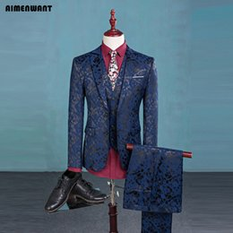 Hommes Blazer À Bas Prix Pas Cher-Vente en gros- AIMENWANT s'adapte à la mode Top Slim Blue Top Pattern 3 pièces (Jacket + Vest + Pants) Stage Show Blazer Men Dinner Suit Cheap