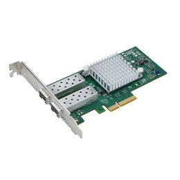 Intel Wireless Pci UK - Wholesale- Support FCoE Intel 82599 X520 PCI-E x8 10G Ethernet Network Optical Lan Cards With Dual SFP+ Port adapter converter