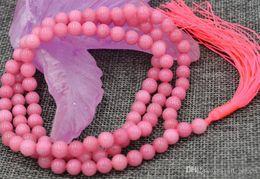 Buddhist Mala Necklace Canada - FFREE SHIPPING** HOT New 6mm stone Buddhist Rhodochrosite 108 Prayer Beads Mala Bracelet Necklace