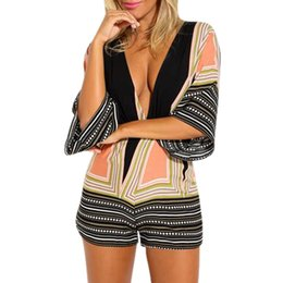 Barato Senhoras Macacão Para Praia-Retro Color Patchwork Jumpsuit Mulheres Sexy Ladies Deep V-Neck Rompers Womens Summer Casual Loose Beach One Piece Jumpsuits #LH