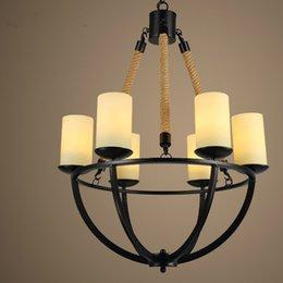 6 lampade di pendente di marmo di vetro d'annata chiare all'ingrosso Illuminazione pendente del candeliere della corda per la sala da pranzo