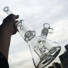 Venta al por mayor de Cubilete de vidrio Bong Dab Rig 4 UFO Perc Filtros Tubos de agua embriagadores Bongs Cuarzo Banger Bowl Plataformas petrolíferas Burbujeante Tubo humeante Alto