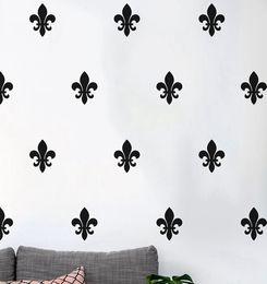 18 Pcs Hot Hakuna Floral Fleur De Lis Wall Decal , French Style Art Pattern  Vinyl Wall Sticker Modern Nursery Decor DIY Part 84