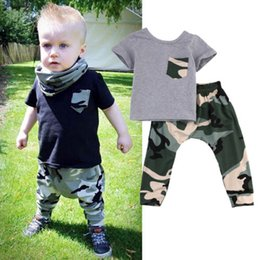 $enCountryForm.capitalKeyWord Canada - 2017 Cute Baby Boys Clothing Kid Summer Tops + Long Pants Camouflage Outfits Clothes Sets 2Pcs 0-3T