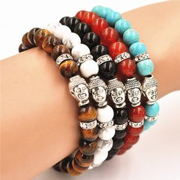 $enCountryForm.capitalKeyWord NZ - Hot Sale Natural Stone Brilliant Turquoise Tiger eye Red agate Buddha head Bracelet Energy beads Bracelets Yoga Jewelry Women Men Religion
