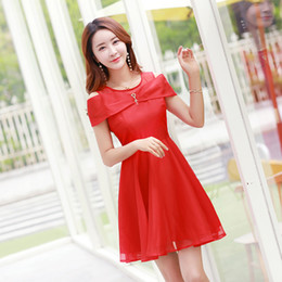 Robes Décontractées Pour Dames Coréennes Pas Cher-Elegant Korean Women A-Line Robes Summer Short Sleeve Slash Robe Casual Slim O-Neck Sexy Ladies Robes