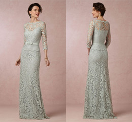 35849c9d7a9 Sage Mint Lace Mother Of The Bride Dresses Bateau Neck Long Sleeves Peplum  Special Occasion Royal Blue Evening Gowns