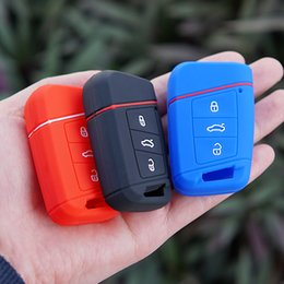 vw passat key silicone NZ - Silicone Rubber key fob skin bag cover case holder for Volkswagen VW Magotan Passat B8 Skoda A7 Smart Remote Protector keychain