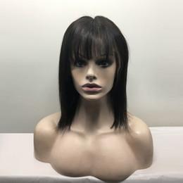 Bob Cut Glueless Human Hair Wigs NZ - straight hair cut wig unprocessed virgin brazilian hair silky straight glueless full lace wigs with bangs human hair lace front bob wigs