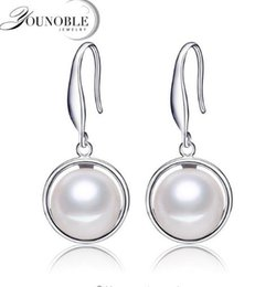 $enCountryForm.capitalKeyWord Canada - YouNoble best price 925 sterling silver earrings for women high quality 9-10mm natural pearl jewelry 3 colors drop earrings real