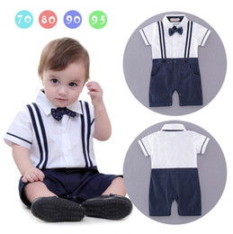 Arc Décontracté Pour Enfants Pas Cher-Little Boys Cotton Casual Rompers Toddler Fashion Gentleman Jumpsuits Babies Summer Bow Romper 2017 vêtements pour enfants
