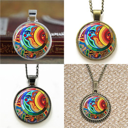 Bookmarks Pendant Australia - 10pcs Sun and Moon Jewelry Celestial Mayan glass Art Pendant glass Necklace keyring bookmark cufflink earring bracelet