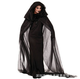 Beauty dress clothes online shopping - Women Witch Clothing Costume Black Dress Cloak Gloves Halloween Sets For Female Wear Cosplay