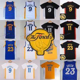 9096b78386a ... 2017 Final Patch 9 Andre Iguodala 23 Draymond Green 11 Klay Thompson  Basketball Jersey Throwback Blue Warriors ...