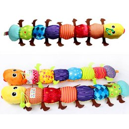 Discount baby comfort cloth - Wholesale- 1 PC Cute Caterpillar Baby Comfort Doll The Music Rattles Educational Toys