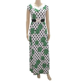 Barato Bonito Verão Maxi Vestidos-Mr Hunkle 2017 New Fashion Women's Cute Maxi Dress Sashes Flower Dots Print Long Vestidos Sexy Summer Party Dresses