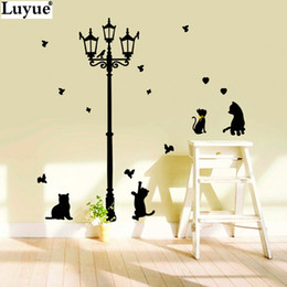 New Hot Naughty Cats Birds And Street Light Lamp Post Wall Stickers Home  Decoration School Room Kindergarten Wall Sticker 7Style Cheap Naughty Wall  Stickers Part 42