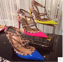 tie front cover up NZ - Women Wedding Shoes Pointed Toe 2-Straps with Studs high heels rivets Sandals Women Studded Strappy Dress Shoes Stiletto High Sandals Shoes