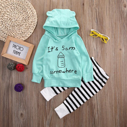 Tenue Bébé Fille Bleue Pas Cher-Nouveau-né bébé petit garçon fille usine de vêtements haute qualité enfants ensemble de vêtements Toddler Deer Tops xo hoodie T-shirt + pantalons Leggings 2pcs Outfit