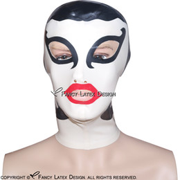 Wholesale funniest costume red nose for sale - Group buy Black With White Red Sexy Latex Hood With Hair decoration Zip Back Open Eyes Nose Mouth Rubber Mask Latex Mask TT