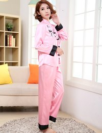 Pink Traditional Chinese Women Silk Pajamas Set Embroidery Pyjamas Suit  Home Wear Tang Suit Sleepwear Flower 2PCS M L XL WP002 a3b7f726a