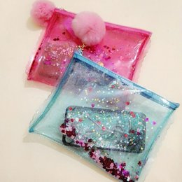 Discount transparent jelly case - Jelly Transparent PVC Travel Cosmetic Make Up Toiletry Bag Zipper Sequins Handbag Waterproof Case Women Pouch Travel Toi
