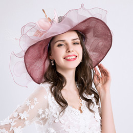 novelty flower hat NZ - American Europe Styles Flower Fine gauze large brim hat party church wedding hats Fashion hat Sun Hats 6 colors