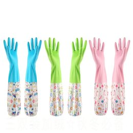 Chinese  Home Cleaning Gloves With Elastic Band Velvet Rubber Work Glove For Household Kitchen Tools Waterproof Many Colors 4 4sy BZ manufacturers