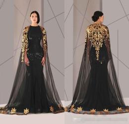$enCountryForm.capitalKeyWord NZ - 2019 Cheap Arabic Formal Pageant Evening Dresses With Cloak Gold Lace Plus Size Black Sequined Vestidos De Novia Prom Occasion Gown Cheap