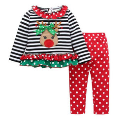 girls christmas suits 2017 autumn striped giraffe coatdots pants outfits kids 2pcs sets new years costume childrens clothing sets 0 5y