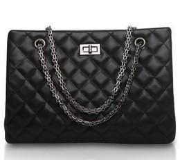 Discount handbag designs patterns - Black Fashion Diamond Lattice Pattern Design Real Leather Quality Satchels Bag Women Totes Women's Shoulder Bags La