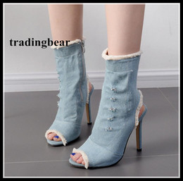 Tubes Sexy Blue Pas Cher-Sexy Peep Toe Ankle Bootie Light Blue Denim Tissu Frayed Edged High Tube Chaussures Christmas Party Taille 35 à 40