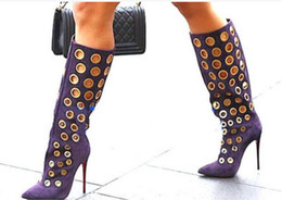$enCountryForm.capitalKeyWord NZ - 2017 women knee high gladiator sandal boots point toe gold ring booties thin heel long boots dress shoes ladies party shoes