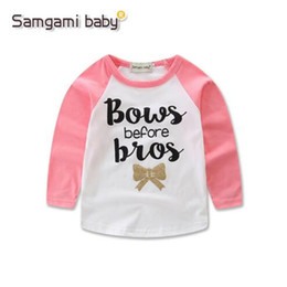 kids girls shirts blouse 2019 - T Shirt Letter Girls Cotton Children Cartoon Tshirt Tops Children's Wear Lovely Clothing Long Sleeve Blouse Boys Gi