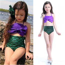 Barato Conjuntos De Biquíni Sutiã Inferior-Childrens Swimsuit Meninas Sereia Tail Sequin Bottoms Dois Pieces Bikinis Sets Bow Bra Swimwears Kids Banho Spa Beach Swimsuits