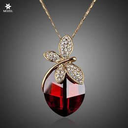 $enCountryForm.capitalKeyWord Australia - Wholesale MOZEL Fashion Jewelry Swarovski Elements Dragonfly Vampire Gold Plated Stellux Austrian Crystal Ellipse Pendant Necklace TN0041